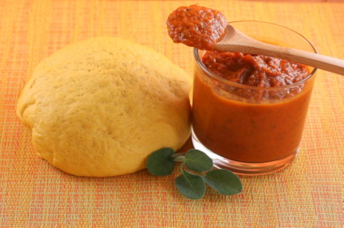 Pumpkin Pizza Dough and Pumpkin Tomato Pizza Sauce
