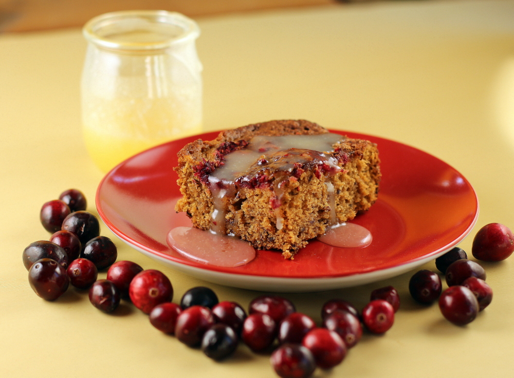 Cranberry Gingerbread Cake with Butter Sauce