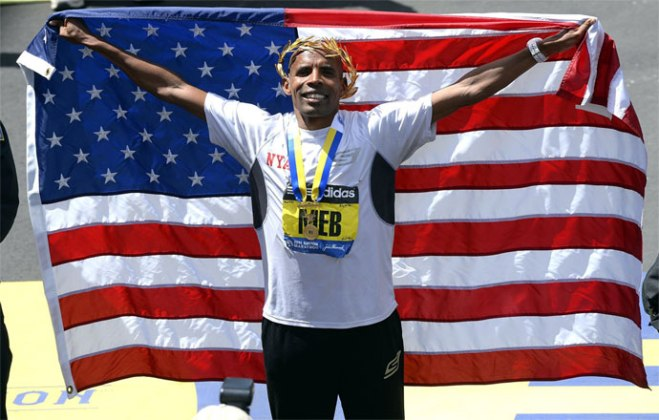 Meb 2014 Boston Marathon Win American Flag