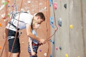Rock Climbing Dad and Son