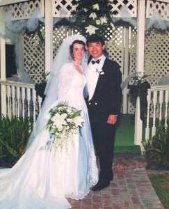 Photo Courtesy of Amber Chiang and Charley Chiang Amber and Charley Chiang smile on their wedding day May 22, 1994.