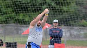 CSUB's Bryan Wilmert repeated as WAC hammer throw champion on May 15. Photo by Rick Dodd Photography
