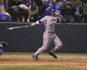 Junior Chance Gusbeth hits a home run to left field against UCLA at Jackie Robinson Stadium on May 29. Photo by AJ ALvarado/The Runner