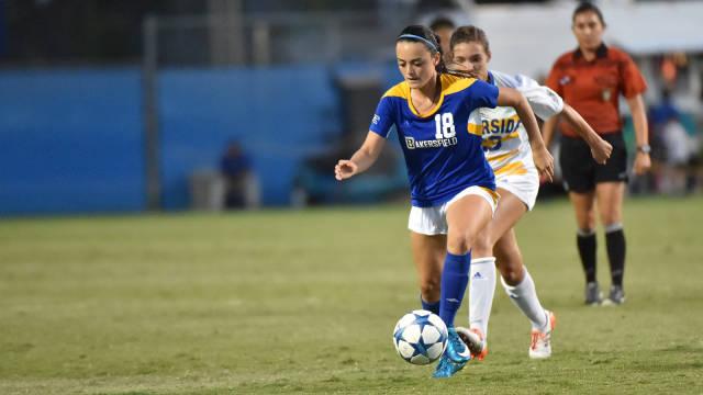 CSUB freshman midfielder Sabrina Delgado moves the ball up the field against UC Riverside on Sept. 6. Photo by John Brown