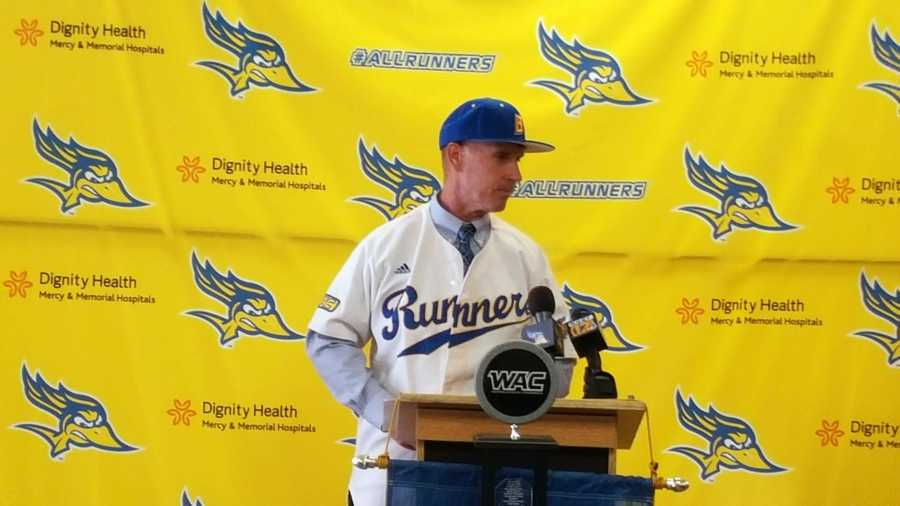 CSUB's new head baseball coach Bob Macaluso talks about what it means to him to get the position at the Icardo Room on Aug. 31. Photo from gorunners.com.