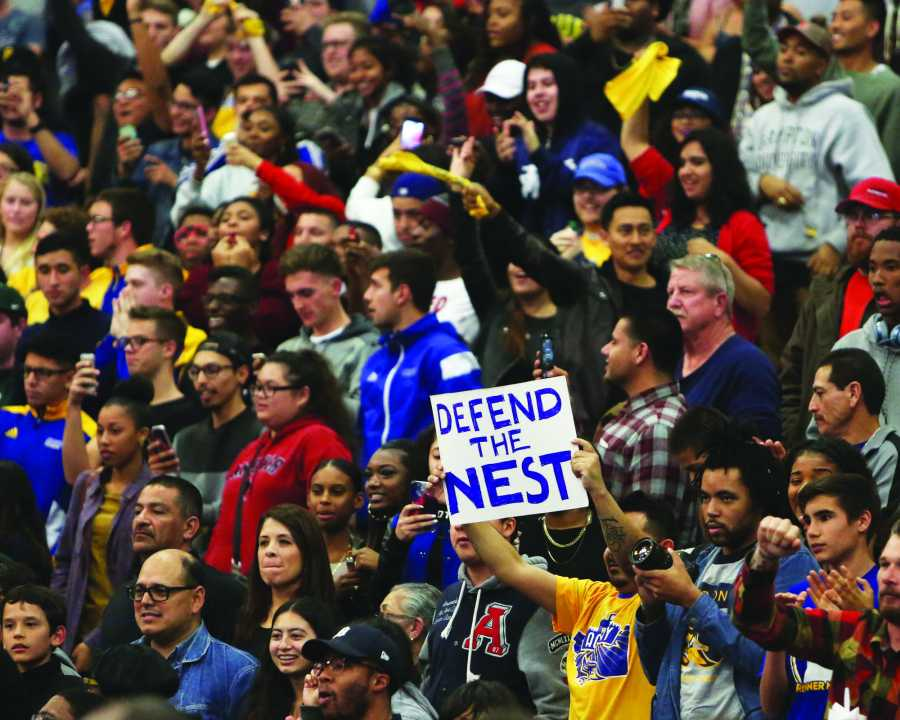 CSUB fans cheer on the Roadrunners during the game against New Mexico State on Jan. 23 in the Icardo Center. Photo by AJ Alvarado/The Runner