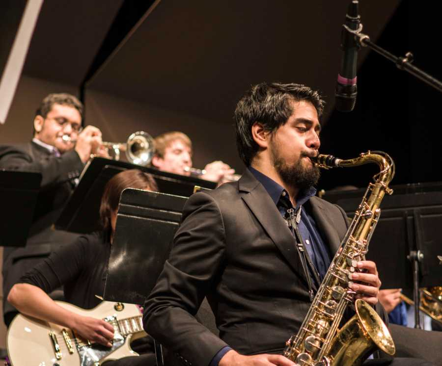 """Alejandro Saucedo performs the """"So-Hay Shuffle"""" on March 4 in the Doré Theatre. This was the 40th Jazz Jam for CSUB. Photo by Ben Patton/The Runner"""