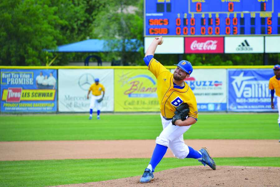 CSUB junior pitcher Max Carter winds up a pitch in the ninth inning against Sacramento State University in its 6-3 loss against the Hornets on April 10 at Hardt Field.