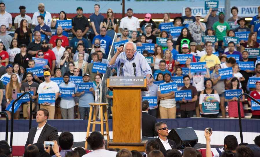Democratic presidential candidate Bernie Sanders speaks to the community at the Kern County Fairgrounds on Saturday. Photo by Ben Patton/The Runner