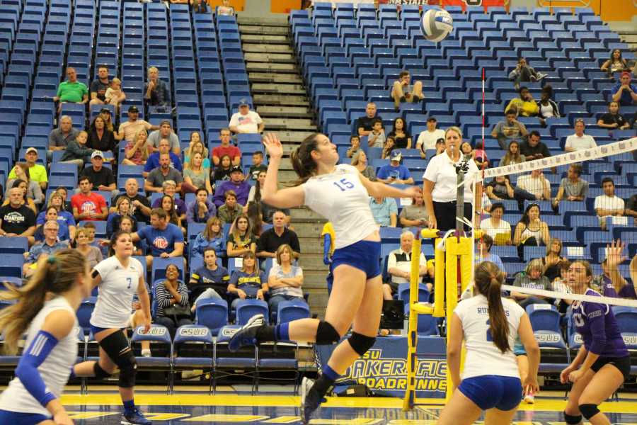 CSUB redshirt-sophomore middle hitter Miranda Sanches attempts a hit against Grand Canyon Friday, Sept. 23 in the Icardo Center. Photo by Allison Lechman/The Runner