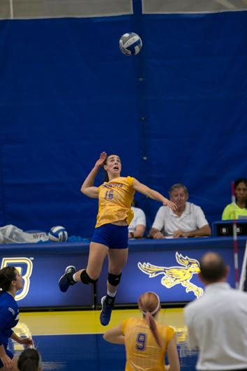 CSUB senior outsider hitter Carol Grasso was named WAC Player of the Year for the 2016 indoor volleyball season.  Photo by AJ Alvarado/ The Runner