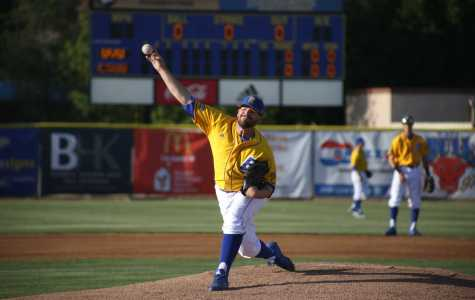 Senior pitcher Max Carter pitched a two-hit shutout in a win against Utah Valley University on Thursday, April 13 at Hardt Field. Carter had a perfect game until he allowed a single with two outs in the fifth inning. Photo by Karina Diaz/ The Runner