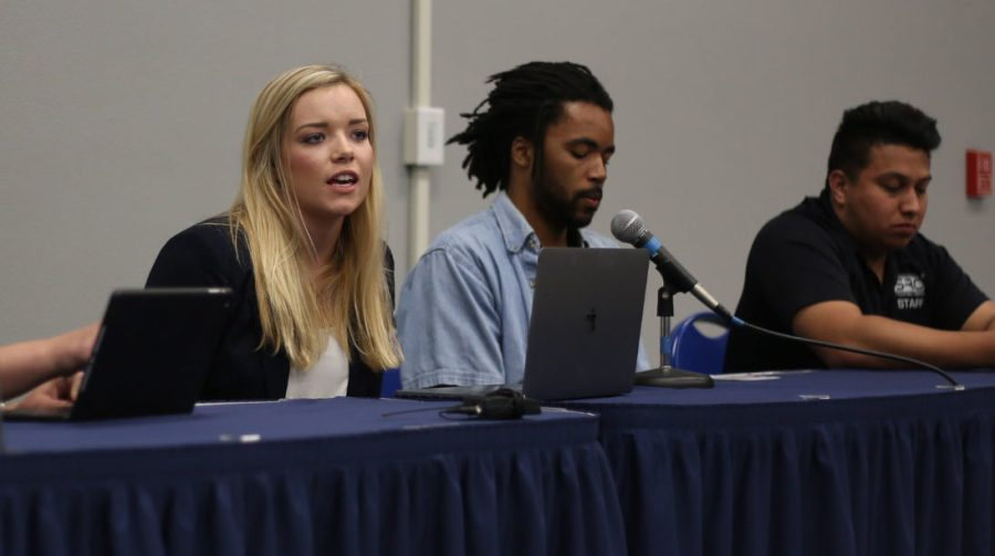 From left to right ASI candidates Brittany Fowler, Mohammed cook, and Anthony Briseno attend the candidate forum on Monday, April 3.  By Karina Diaz/The Runner