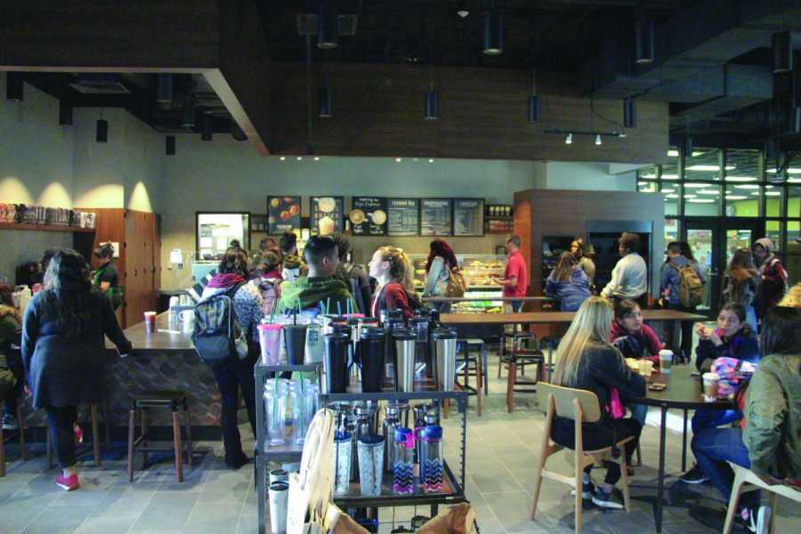 Students fill the newly opened Starbucks during the first week of the spring semester. Photo by Andrew Paredez/ The Runner