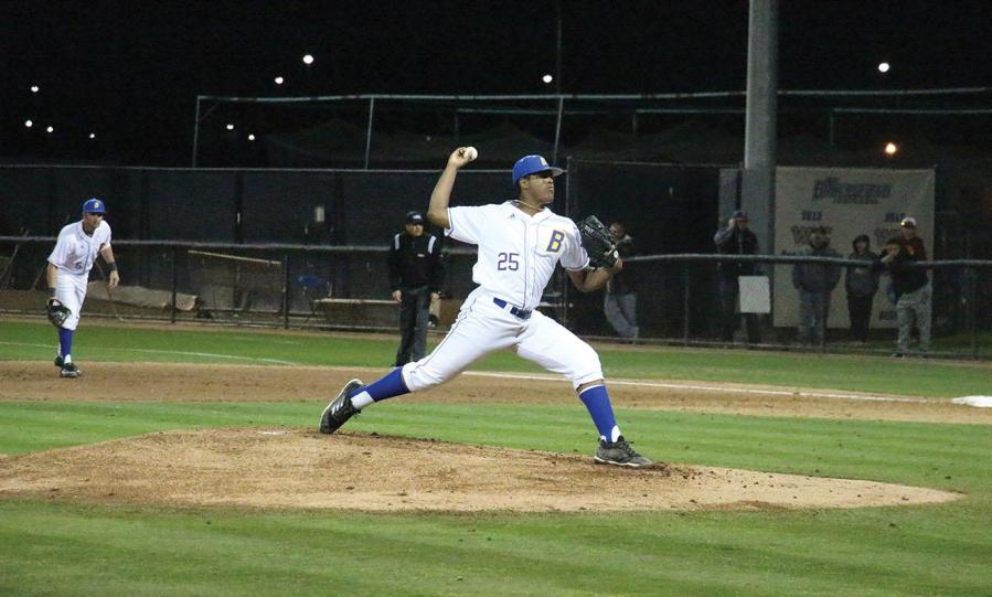 #25. Aaron Charles takes his first pitch of the game for CSU Bakersfield against UC Davis.  Photo: Aaron Mills