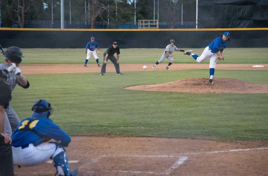 CSUB freshman Kevin Altamirano throws at against Cal Poly at Hardt Field on Tuesday, April 10.  Photo: Simer Khurana