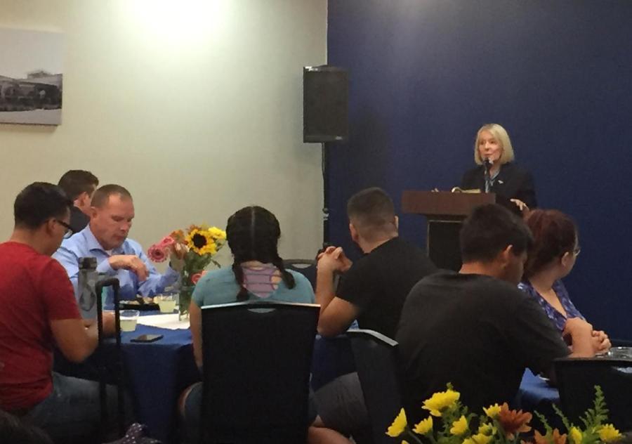 CSUB President Lynnette Zelezny addresses the crowd at the Lunch with Legislators event on Thursday, Sept. 27, 2018. Photo Courtesy of CSUB ASI.