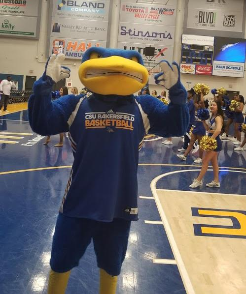 Rowdy sets the mood in the Icardo Center during the pep rally on Thursday, Feb. 21.  Brandon JJ Reed/The Runner