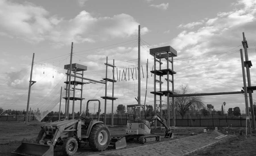 The ropes course receives its final touches as construction continues on Jan. 21, 2019.