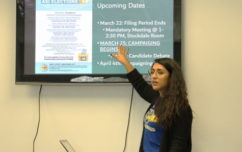 Leo Garcia/The Runner/ ASI Executive Vice President Alejandra ''Olly'' Lopez goes over the important deadlines on March 6 in the Student Union.