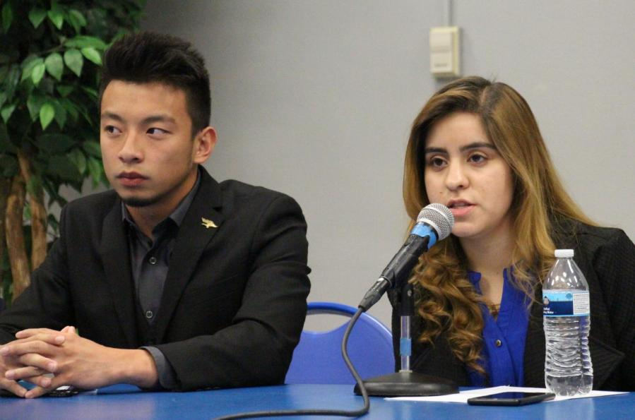 Aaron Wan and Roxanne Esparza discuss their goals and visions during the ASI candidate open forum on April 2, 2019.