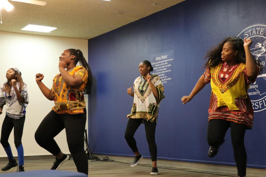CSUB African Student Association's Kings and Queens dance team took the floor to perform an African dance during the International Women's Day event in the Stockdale Room on Friday, March 8.