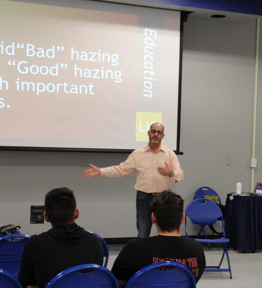 "President of Campus Speak, David Stollman, debunks the myth of claiming there is ""good""  hazing and ""bad"" hazing with students at the Student Union Multipurpose Room on Wed., Sept.  25, 2019. Photo by Karin Patino."