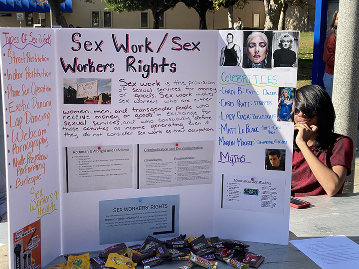 Pictured above is a poster with information on sex workers. They also included a list of celebrities who have been in that industry.
