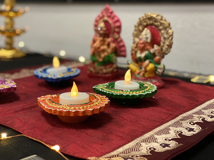 The Diya, is a small lamp that is lit especially at Diwali. Diyas are typically made of clay with Ghee or oil used as the fuel and cotton wool as the wick.