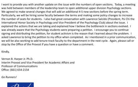 Interim provost Vernon B. Harper Jr. gives psychology students an update.