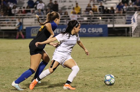 Junior Eszter Toth tries to steal the soccer ball during the last home game on Saturday Oct. 26 2019 taking place on the CSUB main soccer field.