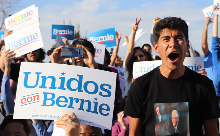 Anthony Alexander, a junior at Independence High School getting excited for the Bernie Sanders Rally held at the Spectrum Amphitheater at River Walk on Feb. 21st, 2020.