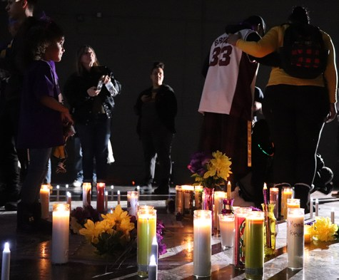 Two people share in embrace during Kobe's Memorial at the Dignity Health Sports Complex on Friday January 31st, 2020.