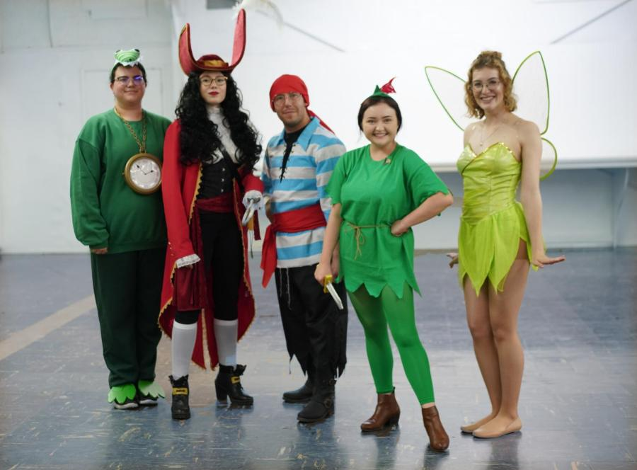 Costume Contest winners, the cast of Peter Pan from left to right: Kristine McDonald as the Crocodile, Ashley Thoene as Captain Hook, Niel Vandervert as Smee, Megan Jarrett as Peter Pan, and CorissaGarcia as Tinkerbell