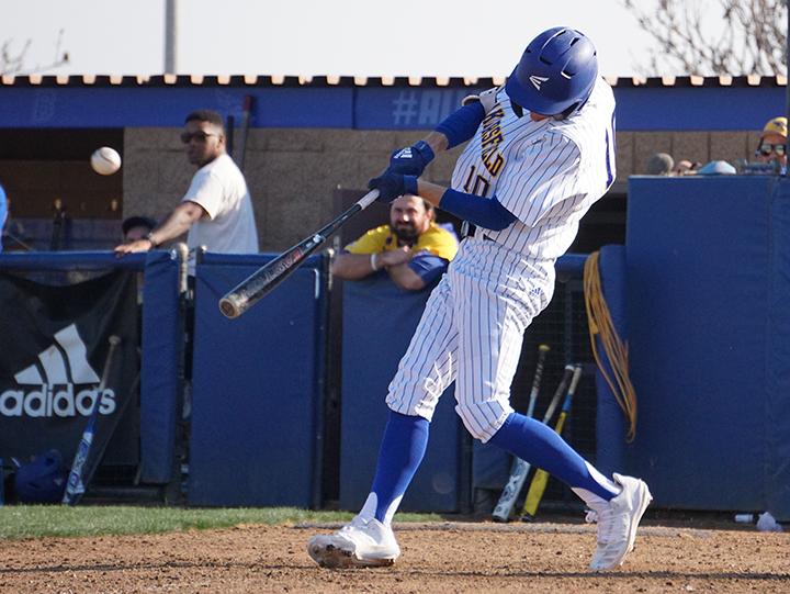 Senior 2nd baseman Tyler Jorgensen bats during the Alumni Game on Saturday Feb. 1, 2020 at Hardt Field.
