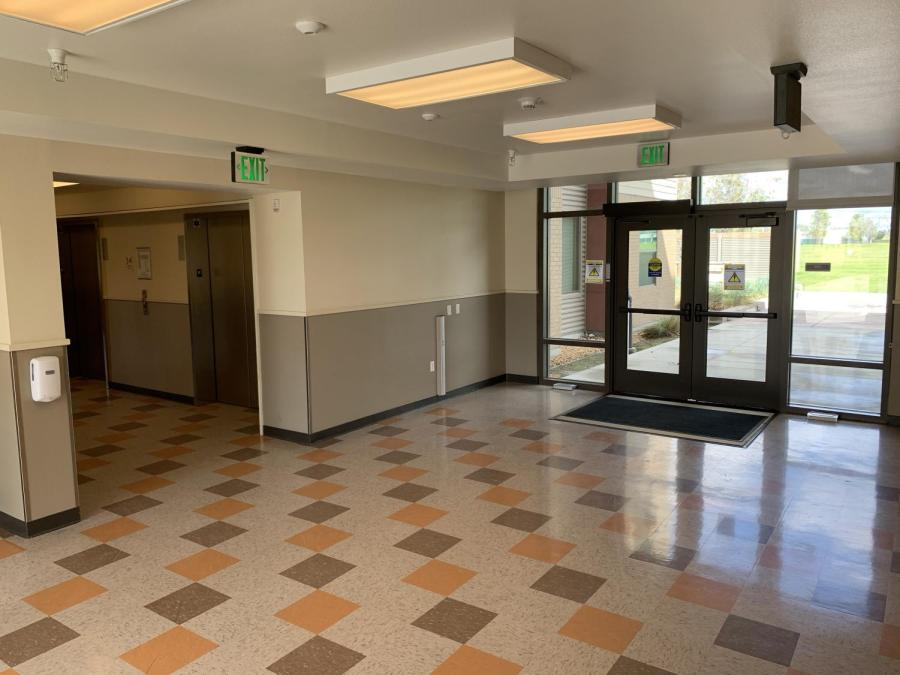 Entryway of CSUB Housing East on Monday, March 23, 2020 after student residents were asked to go back to their primary residence amid the coronavirus pandemic
