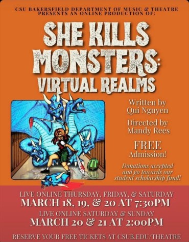 Flyer for Spring Production. Provided by Department of Music and Theatre at California State University, Bakersfield.