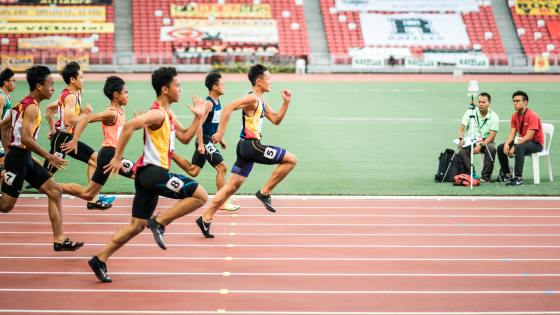 men competing in track