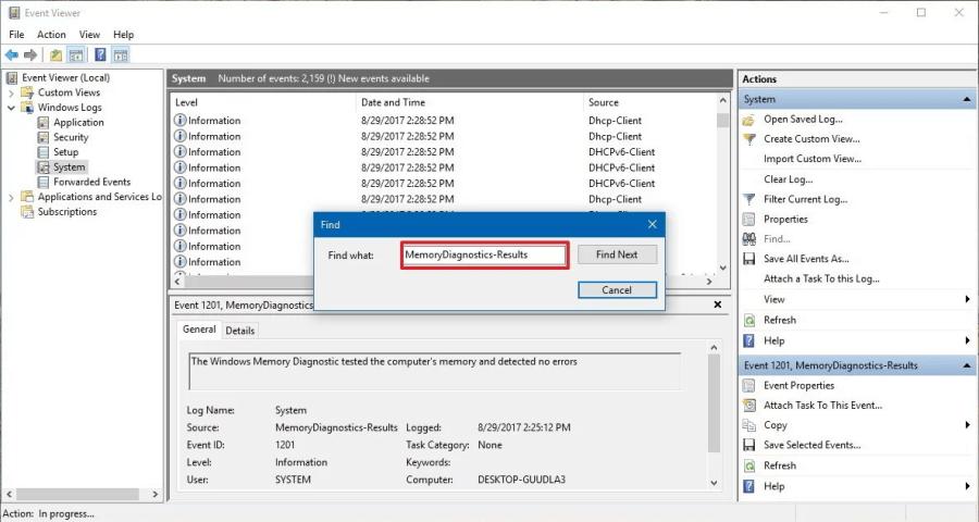 MemoryDiagnostics-Results Windows 10