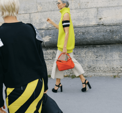 Candid perfection with bright yellow and ankle strap pumps. PC: Phil Oh x Vogue