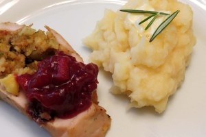 served turkey breast with potatoes