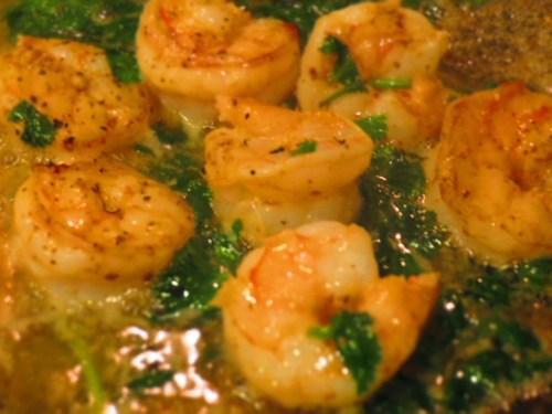 cooking shrimp and cilantro