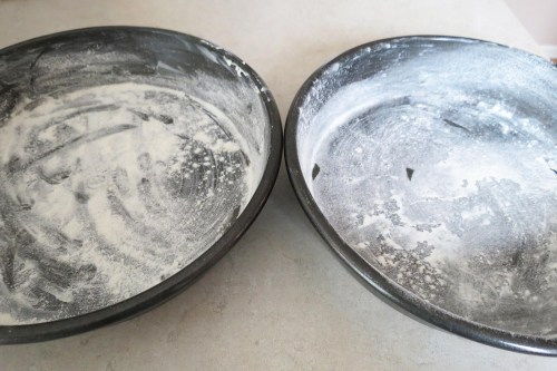 baking pans with flour