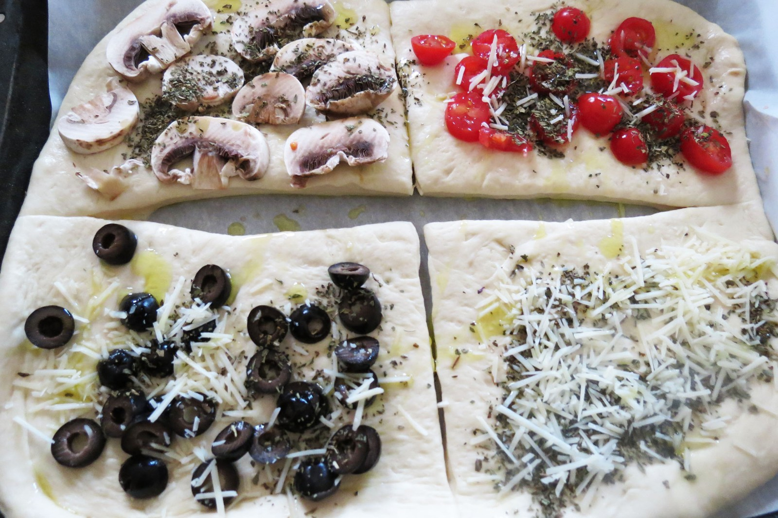 put-toppings-on-focaccia- bread