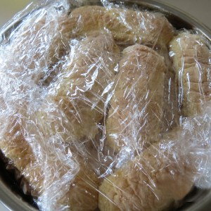 cake wrapped in plastic