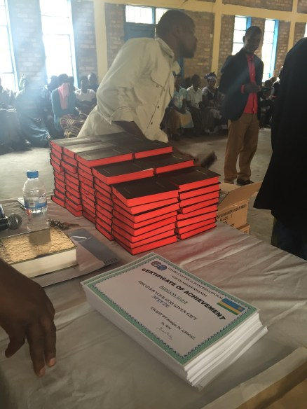 Bibles and certificates, ready for distribution