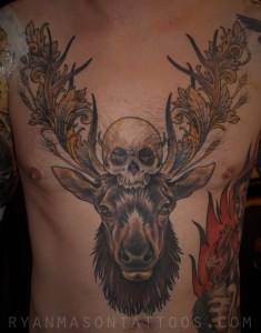 healed elk/skull on dustin, 2011ish. this is an older one, but i still like it.