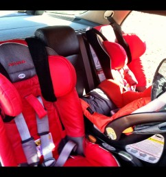 2 diono radian xrt seats and a chicco across a 2001 saab 9 5 aero [ 2852 x 2196 Pixel ]