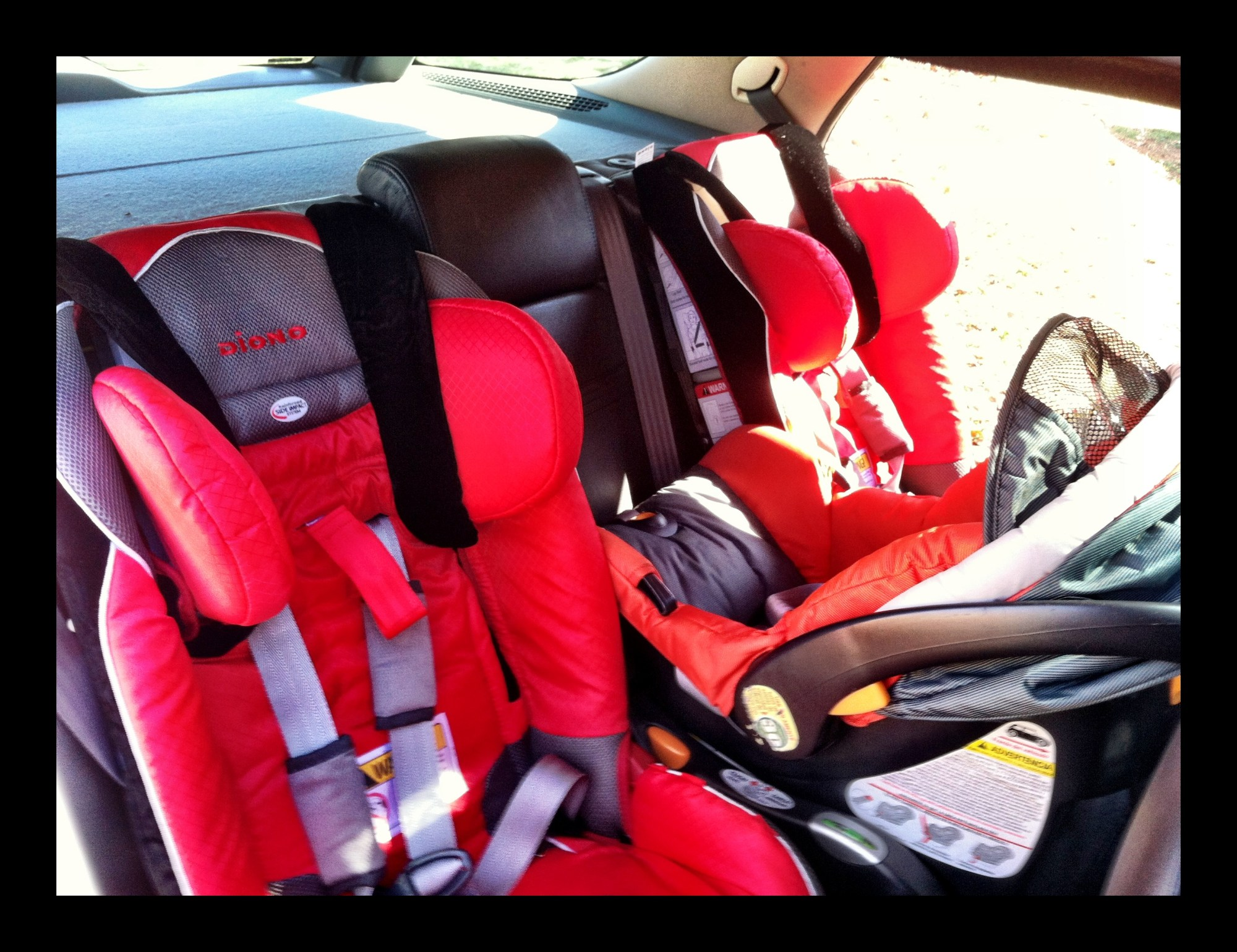 hight resolution of 2 diono radian xrt seats and a chicco across a 2001 saab 9 5 aero