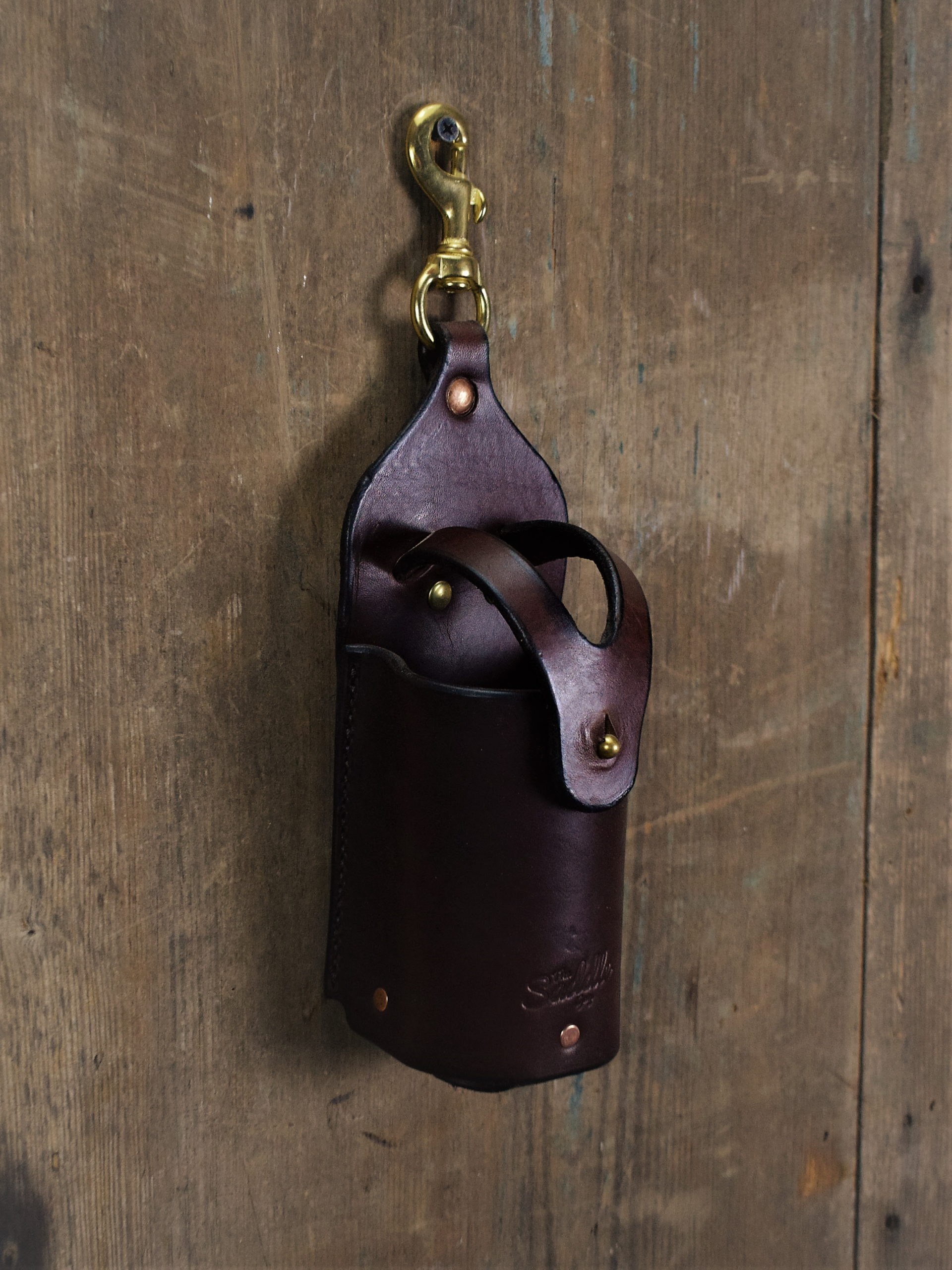 Small Bottle Holder, Rich Brown, Solid Brass